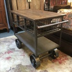 Image of Industrial Style Metal & Wood Rolling Cart