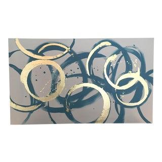 'Blue and Gold Circles' Original Painting