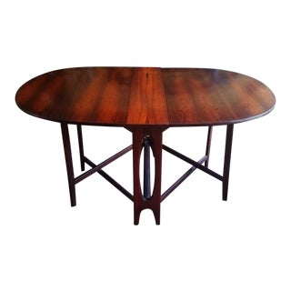 Bendt Winge Danish Mid-Century Modern Gateleg Rosewood Oval Dining Table