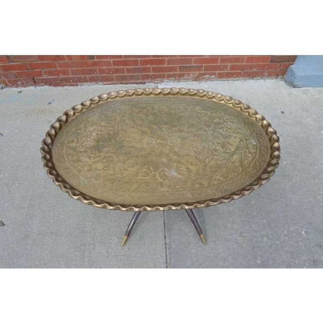 Exceptional Large Vintage Brass Tray Coffee Table On Midcentury Folding Base Decaso