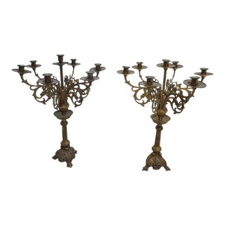 Victorian Brass Paw Foot Carved Griffin 7 Arm Candelabra - a Pair