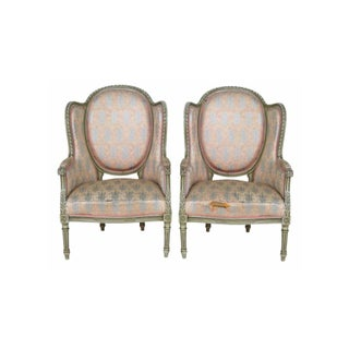 Louis XVI Style Distressed Painted Bergeres - Pair