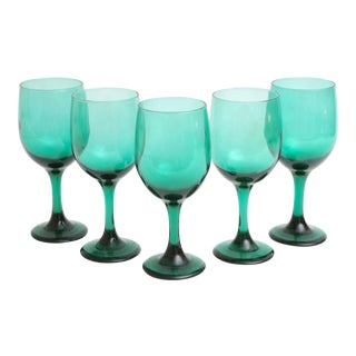 Dark Green Wine Glasses, Set of 5
