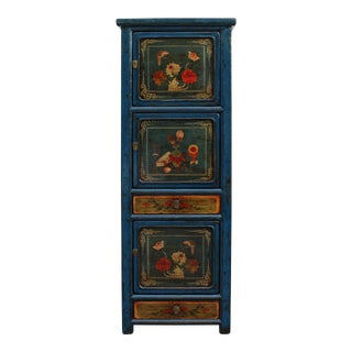 Chinese Vintage Blue Base Colorful Flower Graphic Tall Storage Cabinet