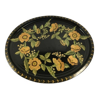 Hand Painted Tole Tray Orange Poppies, C 1960.