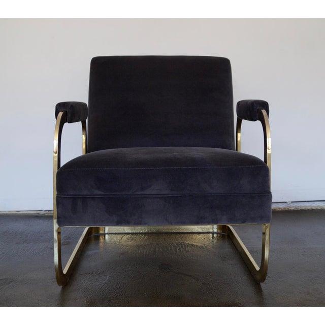 Mid Century Modern Cantilevered Brass Velvet Lounge Chair