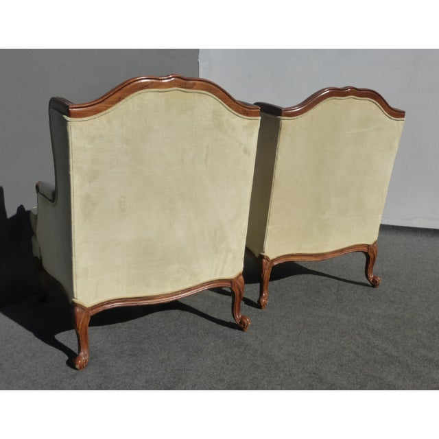 Pair of Bernhardt Tufted Wing Back Velvet Chairs - Image 6 of 11