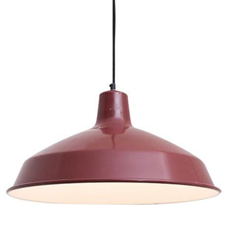 Red Enamel Industrial Pendant Lamp - Image 1 of 4