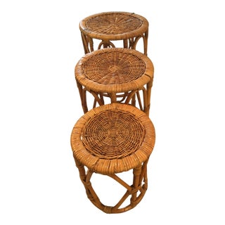 Mid-Century Rattan/Wicker Nesting Tables - 3