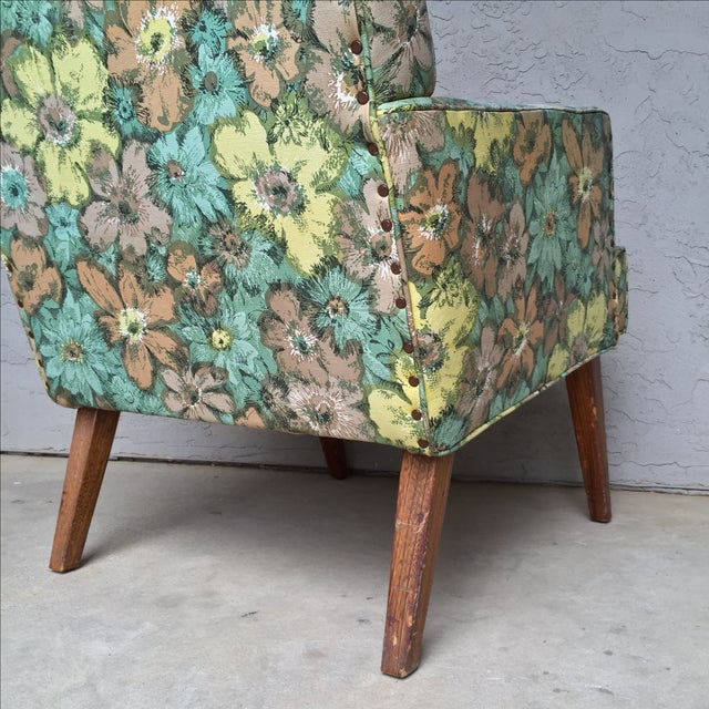 Image of Mid-Century Floral Vinyl & Walnut Lounge Chair