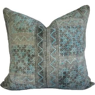 Hmong Batik Turquoise Pillow