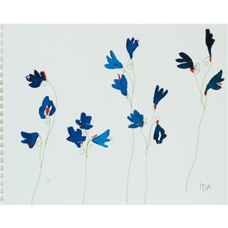 Bright Blue Wildflowers, Watercolors on Paper