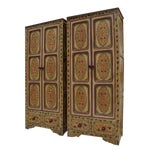 Image of Bohemian Hand Painted Linen Chests - A Pair