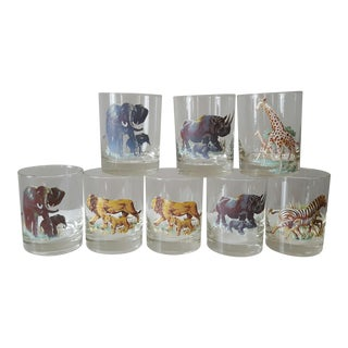 Vintage African Safari Wildlife Double Old Fashioned Glasses- Set of 8
