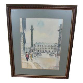 Vintage Paris Watercolor Painting