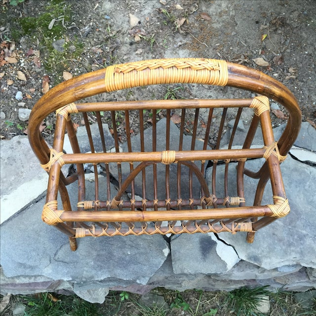 Vintage Rattan Bentwood Magazine Caddy - Image 4 of 6