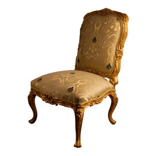 Upholstered Gilt Wood Single Side Chair