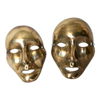 Vintage Solid Brass Decorative Theater Mask - A Pair