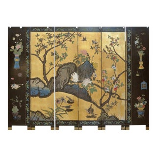 Chinese Parcel Gilt Six-Panel Screen