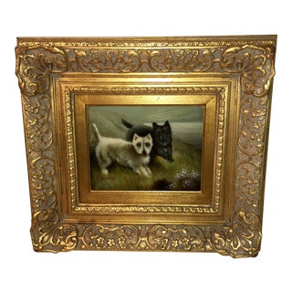 Terrier Dogs Oil Painting