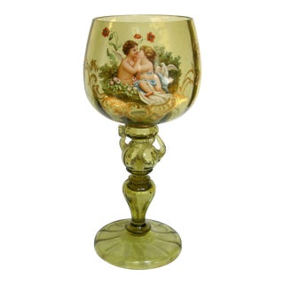 Antique Hand Painted Blown Glass Loving Chalice