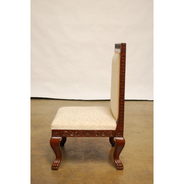 Carved Mahogany Low Wedding Chairs - Pair - Image 5 of 6