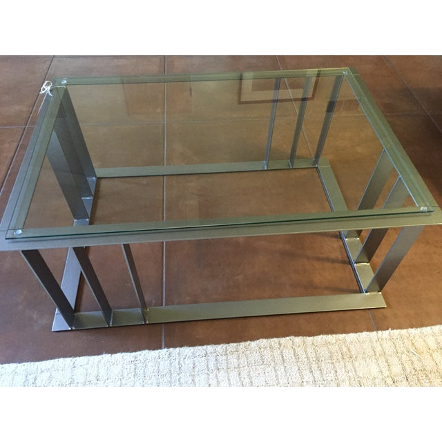 Offset Corner Steel & Glass Coffee Table - Image 2 of 4