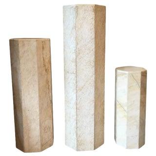 Three Polished Travertine Pedestals