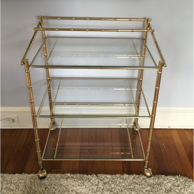Hollywood Regency Faux Bamboo Brass Bar Cart - Image 2 of 5