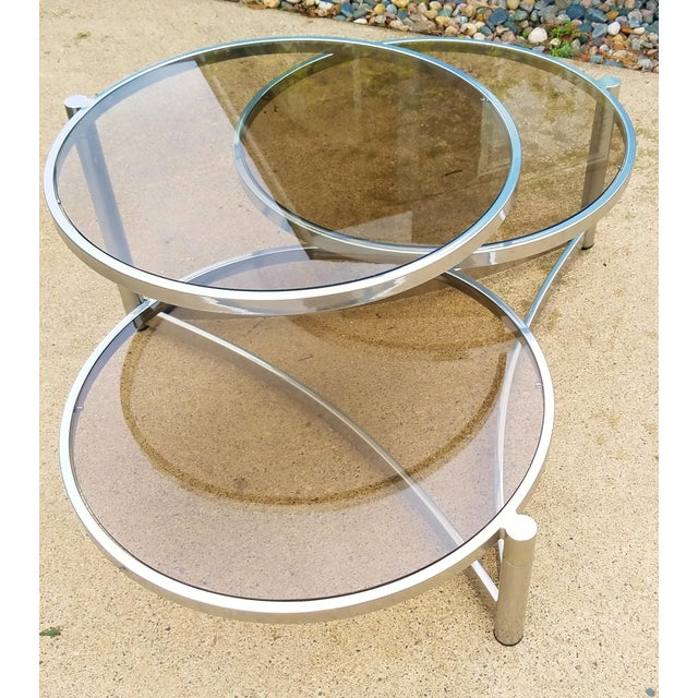 Milo Baughman Tri Level Chrome and Glass Swivel Coffee Table - Image 7 of 11
