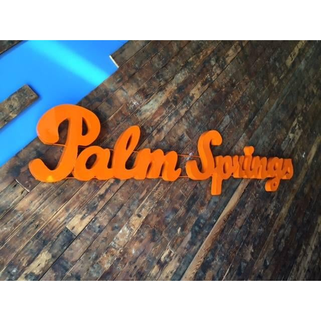 Image of Industrial Orange Palm Springs Metal Sign