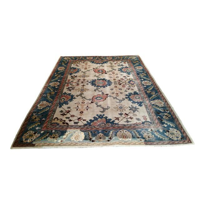 6′9″ × 9′10″ Antique Turkish Wool Oushak Handmade Knotted Rug - Size Cat. 6x9 7x10 - Image 2 of 4