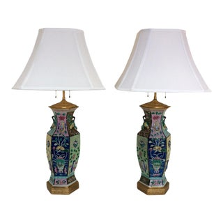 Chinese Porcelain Vase Lamps - A Pair