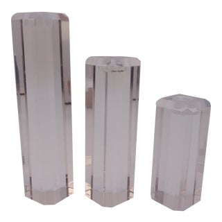 Lucite Ritts Astrolite Candleholders - Set of 3