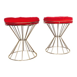 Pair of Mid Century Brass Hourglass Stools