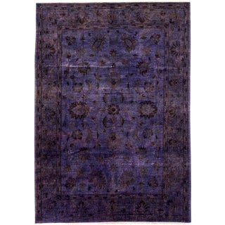 """Purple Over-Dyed Hand-Knotted Rug - 6' 10"""" x 9' 10"""""""