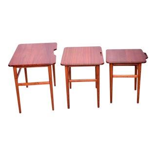 Danish Modern Teak Nesting Tables Set of Three