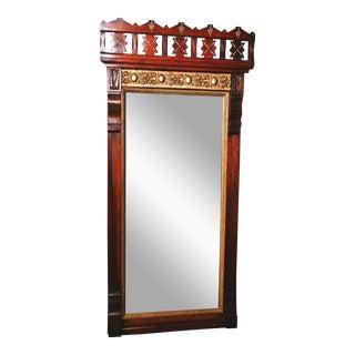 Antique Eastlake Heavy Carved Full Length Floor Mirror