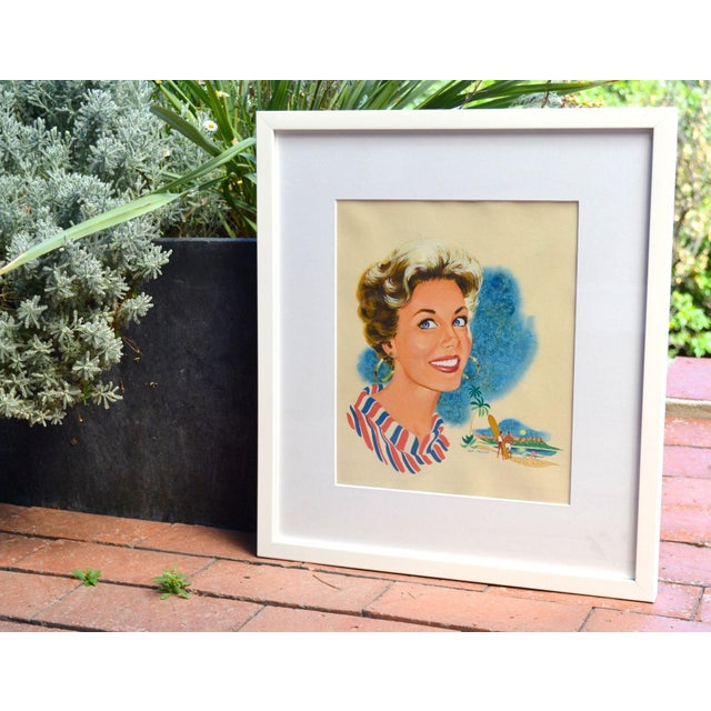 Hap Frazer Smiling Lady Gouache Illustration - Image 2 of 4