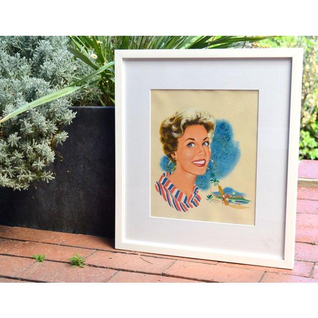 Image of Hap Frazer Smiling Lady Gouache Illustration