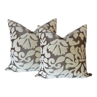Velvet Brocade Pillows - A Pair