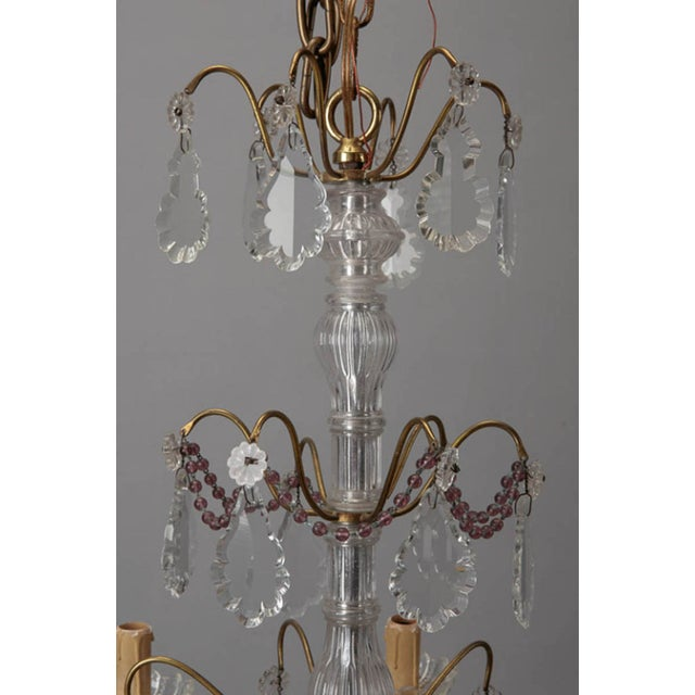 Italian 6-Arm Crystal Chandelier w/ Amethyst Beads - Image 6 of 6