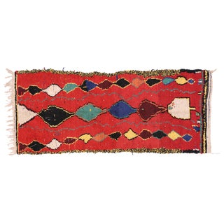 Berber Moroccan Red Runner with Tribal Design, 3'5x8