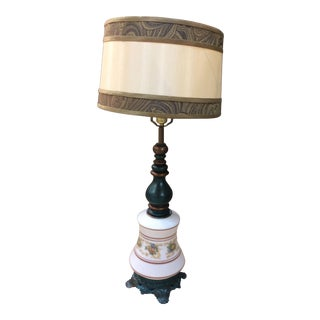 Antique Turquoise Brass Base Table Lamp