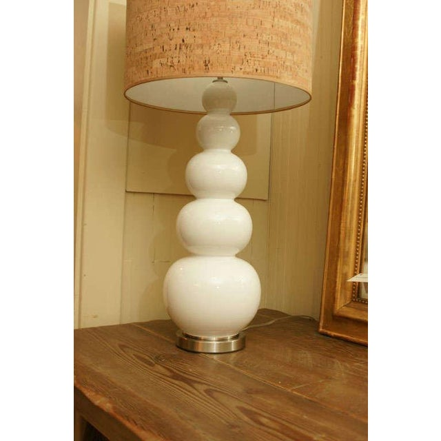 White Glass Stacked Gourd Lamp - Image 4 of 7