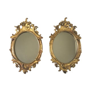 Late 1800's Century Carved Gilded Mirrors - Pair