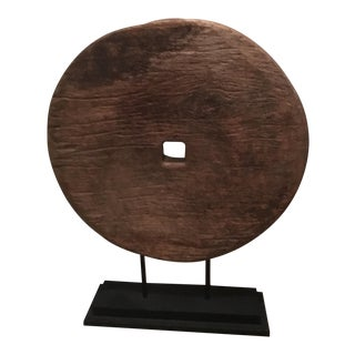 Antique Asian Mounted Wooden Wheel