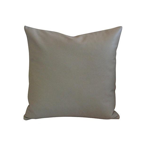 Custom Tailored Italian Gray Leather Feather/Down Pillows - Pair - Image 4 of 7