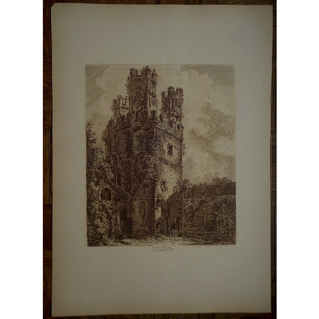 Sepia British Architectural Etching - Image 2 of 3