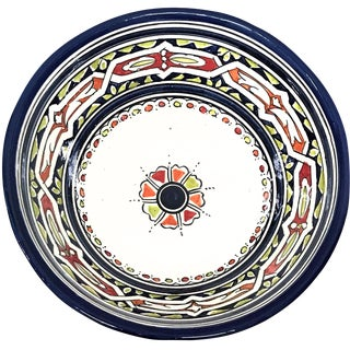 Moroccan Hand-Painted Navy Floral Ceramic Bowl